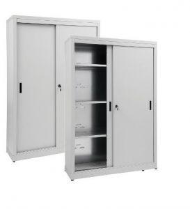 IN-Z.690.20.60 Storage Cabinet with Sliding Doors plasticized zinc 200x60x180 H