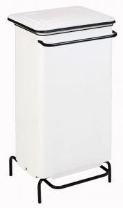 T791224 White steel static pedal waste bin 110 liters