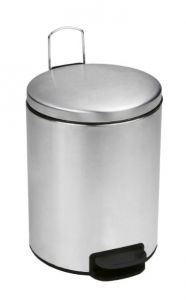 T112055 Polished stainless steel Pedal bin with silent closing lid 5 liters