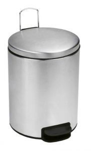 T112059 Brushed stainless steel Pedal bin with silent closing lid 5 liters