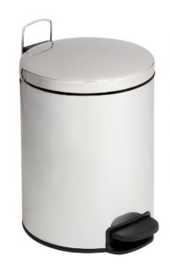 T112205 Polished stainless steel Pedal bin with silent closing lid 20 liters