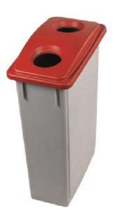 T102207 Contenedor residuos Polipropileno Gris con tapa 2 agujeros Roja 90 litros