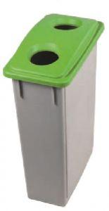 T102208 Poubelle Gris avec couvercle avec 2 trous polypropylène vert 90 litres