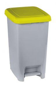 T909976 Cubo de basura con pedal en polipropileno gris con tapa amarillo 60 litros