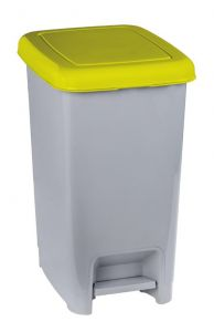 T909966 Grey polypropylene pedal bin with yellow lid 60 liters (Pack of 6 pieces)