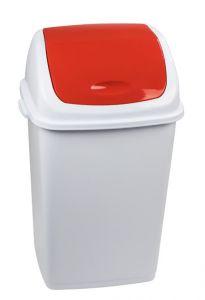 T909057 Cubo de basura Polipropileno blanco con tapa basculante roja 50 litros (múltiplos 6 piezas)
