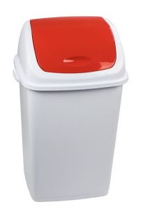 T909057 Polypropylene Swing paper bin White with red lid 50 liters (Pack of 6 pieces)