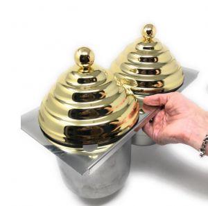 VGCV-2MINI-G Kit 2 mini carapine con coperchii piramidali SIMIL-DORATI da inserire in vetrina gelato