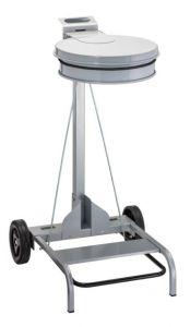 T601043 Portasacco mobile metallo grigio con coperchio e pedale