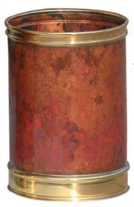 T700105 Corbeille à papier cylindrique en cuvre avec bords laiton 13 litres