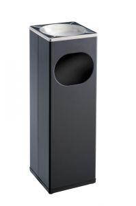 T790002 Poubelle-cendrier carré métal noir/inox 15 litres