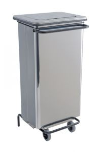 T790624 Polished Stainless steel Wheeled pedal waste bin 110 liters