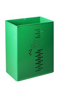 T778022 Green steel rectangulare swivel litter bin 24 liters