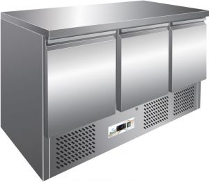 G-S903TOP - Mesa refrigerada refrigerada. Encimera de acero inoxidable. 3 puertas