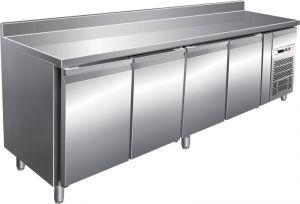 G-SNACK4200TN - Mesa refrigerada de acero inoxidable ventilado - 4 puertas con soporte vertical