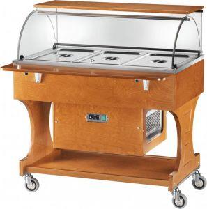 CLR2787N Wooden refrigerated trolley (+2°+10°C) 3x1/1GN plx cover/upper shelf
