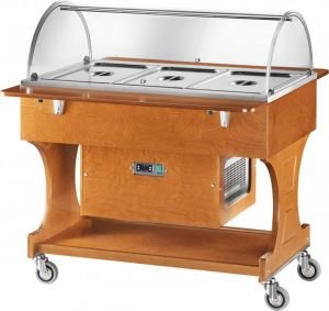 CLR2788NBT  Wooden refrigerated trolley (-5°+5°C) 3x1/1GN plx cover