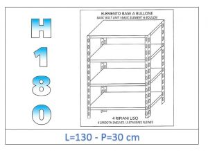 IN-1846913030B Scaffale a 4 ripiani lisci fissaggio a bullone dim cm 130x30x180h