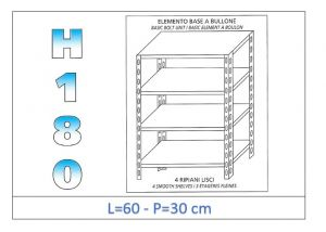 IN-184696030B Scaffale a 4 ripiani lisci fissaggio a bullone dim cm  60x30x180h