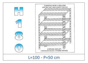 IN-1847010050B Scaffale a 4 ripiani asolati fissaggio a bullone dim cm 100x50x180h