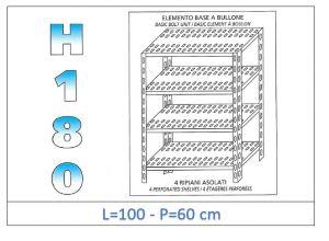 IN-1847010060B Scaffale a 4 ripiani asolati fissaggio a bullone dim cm 100x60x180h