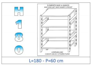 IN-18G46918060B Scaffale a 4 ripiani lisci fissaggio a gancio dim cm 180x60x180h
