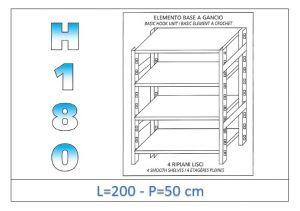 IN-18G46920050B Scaffale a 4 ripiani lisci fissaggio a gancio dim cm 200x50x180h