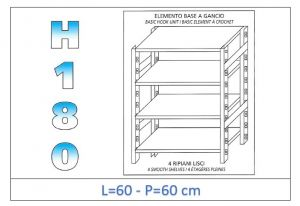 IN-18G4696060B Scaffale a 4 ripiani lisci fissaggio a gancio dim cm 60x60x180h
