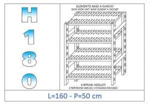 IN-18G47016050B Scaffale a 4 ripiani asolati fissaggio a gancio dim cm 160x50x180h