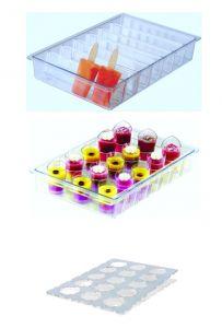 ITP804 Porta stecchi + porta monoporzioni  in policarbonato  per vetrine gelato