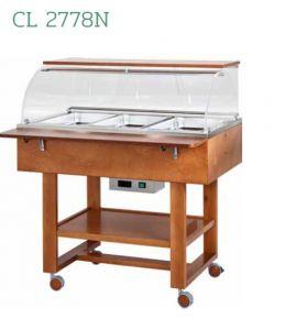 CL2778N Carrello in legno termico bagnomaria  (+30°+90°C) 3x1/1GN cupola/pianetto