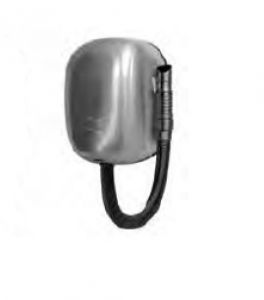 T704562 Wall-mounted hair dryer with brushed AISI 304 stainless steel hose for intensive use