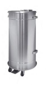 T792090 Conteneur mobile en acier inoxydable AISI 304 avec pédale, étanche 90 litres