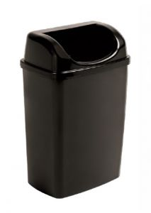 T907253 Waste paper bin with lid in black polypropylene 25 liters