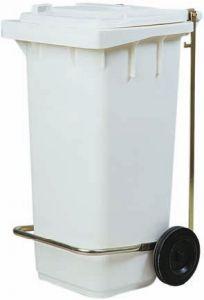 AV4674 White dustbin 2 wheels 100 liters Optional pedal