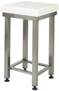 CCP8003 Bloque de polietileno de 8 cm con taburete de acero inoxidable 60x60x88h