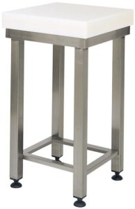 CCP8005 Bloque de polietileno de 8 cm con taburete de acero inoxidable 80x60x88h