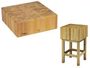 CCL1744 Ceppo legno professionale spessore 17cm con sgabello 40x40x90h