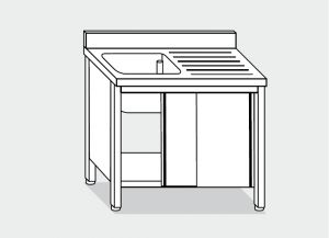 LT1028 Wash Cabinet on stainless steel