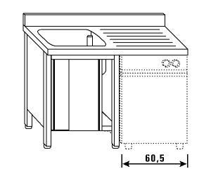 LT1188 Lavatoio su armadio per lavastoviglie 1 vasca 1 sgocciolatoio dx alzatina 140x70x85