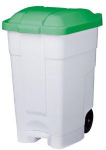 T102048 Mobile plastic pedal bin White Green 70 liters (multiple 3 pcs)