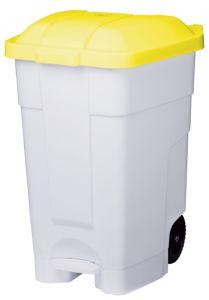 T102046 Contenitore mobile a pedale plastica bianco-giallo 70 litri (confezione da 3 pezzi)