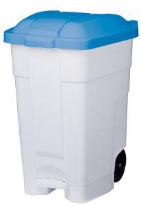 T102045 Contenitore mobile a pedale plastica bianco-blu 70 litri (multipli 3 pz)