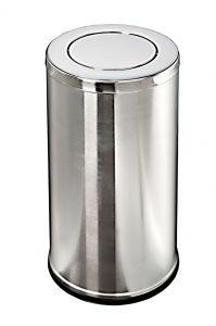T106081 Corbeille à papier en acier inox avec couvercle basculant 36 litres
