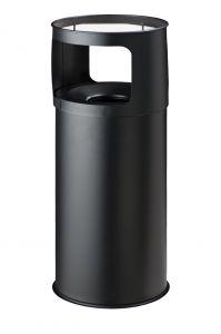 T775051 Papelera-cenicero Anti-fuego metal negro 50 litros con arena
