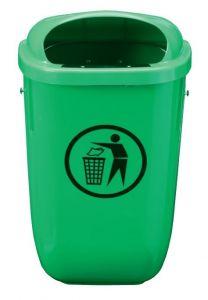T102050 Corbeille en polyéthylène vert pour extérieur 50 litres