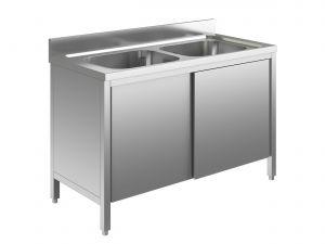 EU01610-14 lavatoio armadio ECO cm 140x60x85h  2 vasche - porte scorrevoli