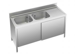 EU01711-14 lavatoio armadio ECO cm 140x70x85h  2 vasche e sg dx - porte scorrevoli