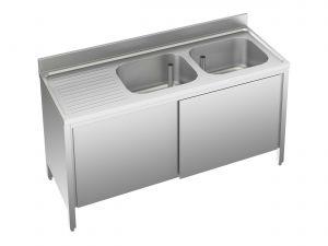 EU01712-20 lavatoio armadio ECO cm 200x70x85h  2 vasche e sg sx - porte scorrevoli