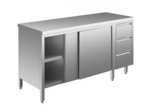 EU04001-15 tavolo armadio ECO cm 150x60x85h  piano liscio - porte scorr - cass 3c dx